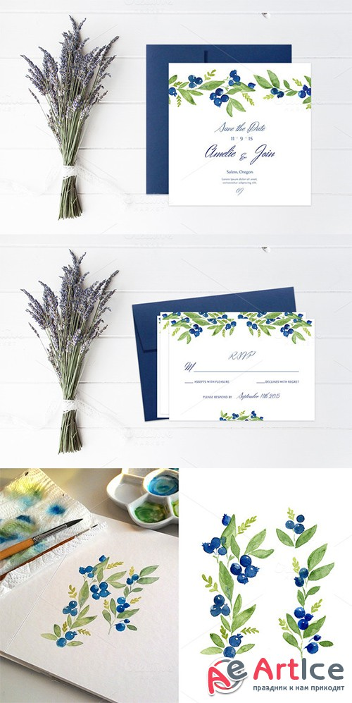 Blueberry Wedding Collection - Creativemarket 367791
