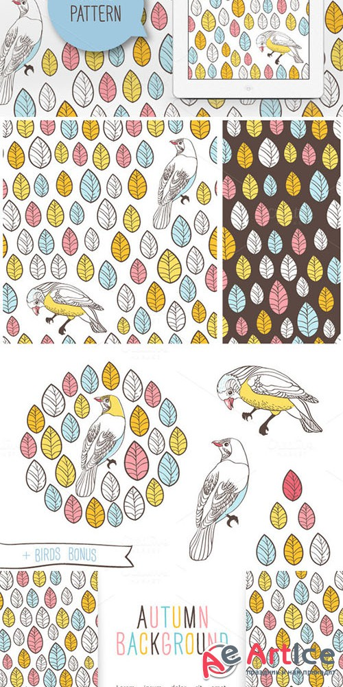Birds and leaves - Creativemarket 29959