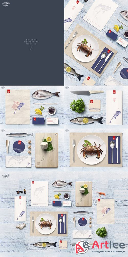 Fish & Seafood Restaurant Mock-up - Creativemarket