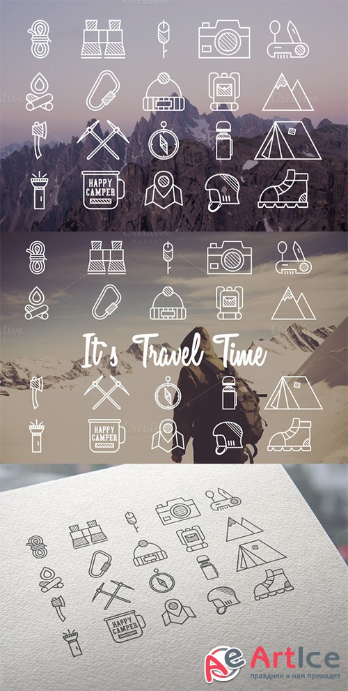 20 Mountain Explorer & Travel Icons - Creativemarket 342561
