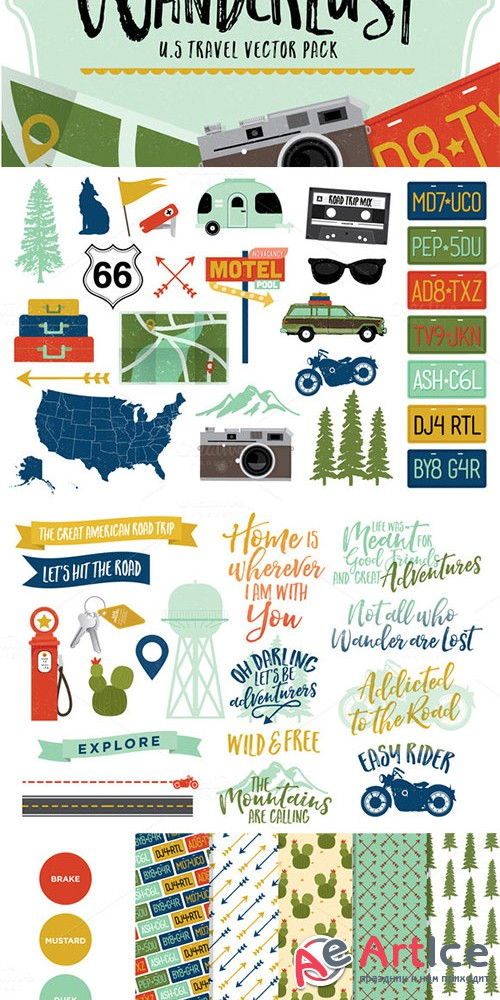 Wanderlust - U.S Travel Vectors - Creativemarket 490765