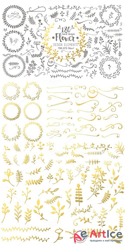 Hand Drawn Flower Design Elements - Creativemarket 393132