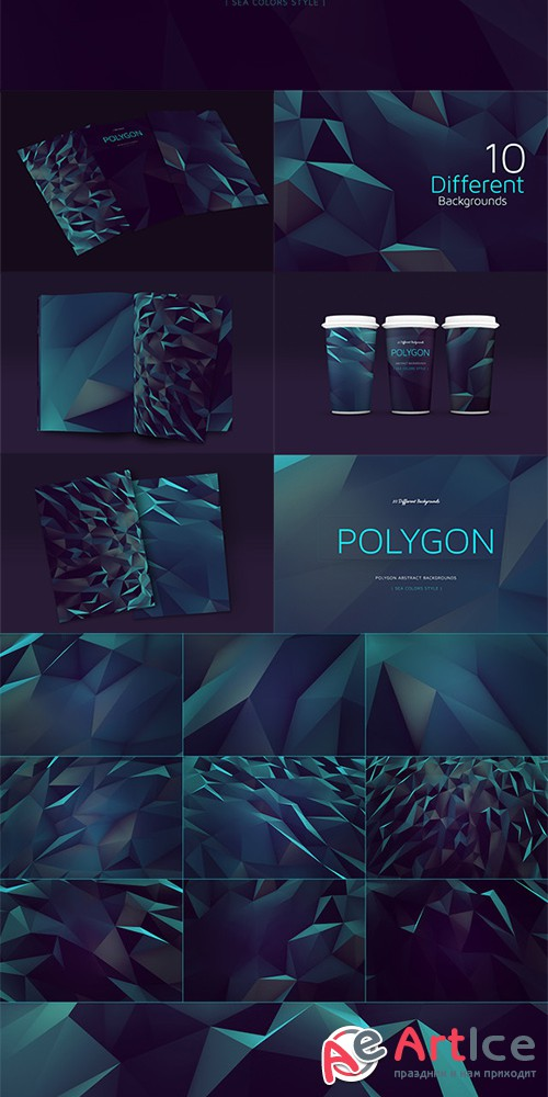 Polygon Abstract BGs|Sea style - Creativemarket 138712