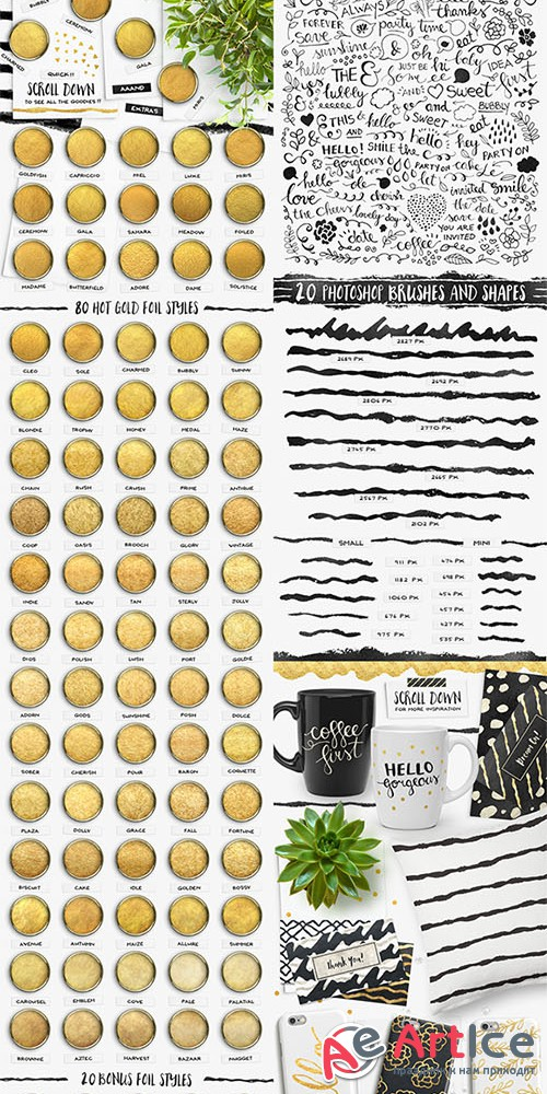 Gold Foil Styles + EXTRAS - Creativemarket 364109