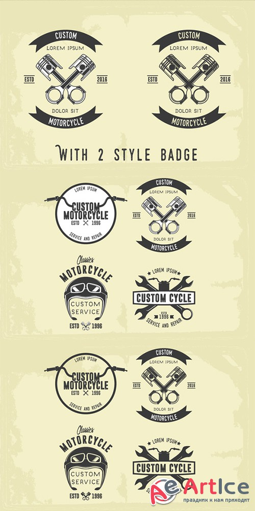Vintage Motorcycle Badge - Creativemarket 692003