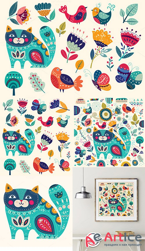 Illustration with cat and flowers - Creativemarket 585476