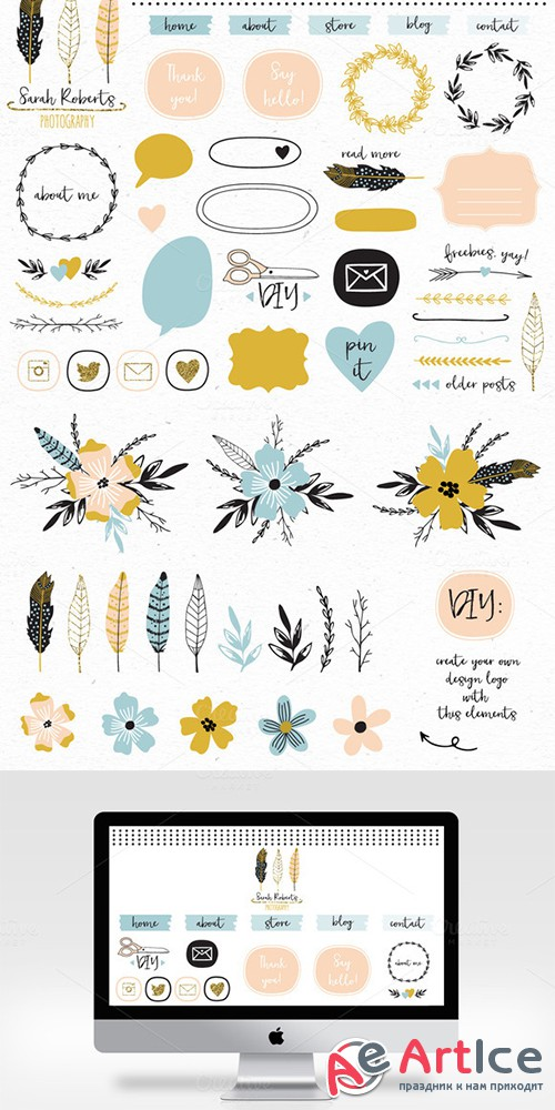 Design elements blog kit - Creativemarket 516898