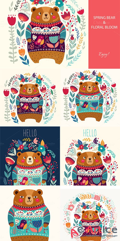 Spring bear and floral bloom - Creativemarket 613738