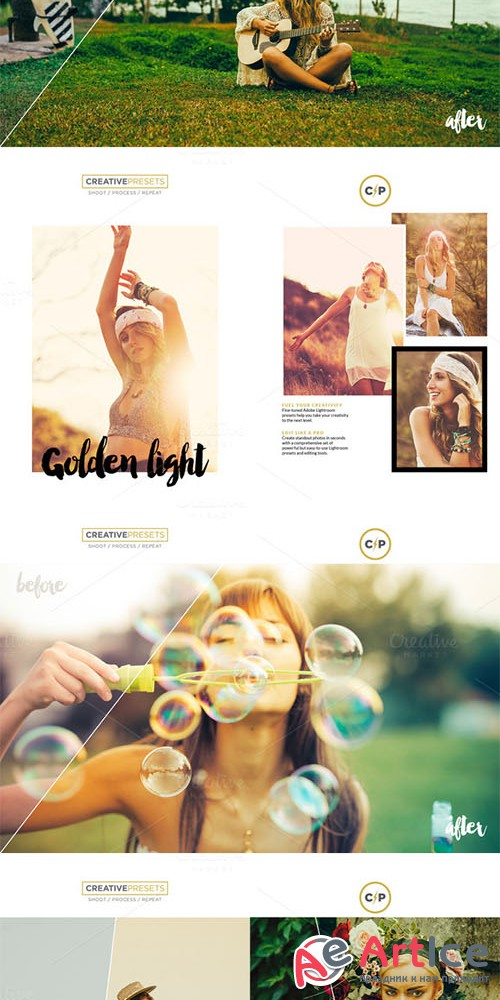 Golden Light Lightroom Presets - Creativemarket 362925