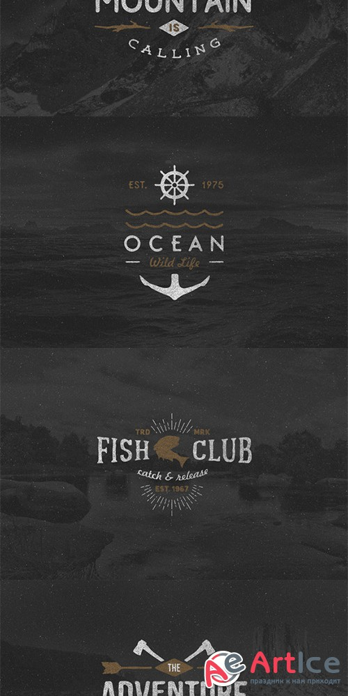 Hand Drawn Adventure Logos - Creativemarket 600620
