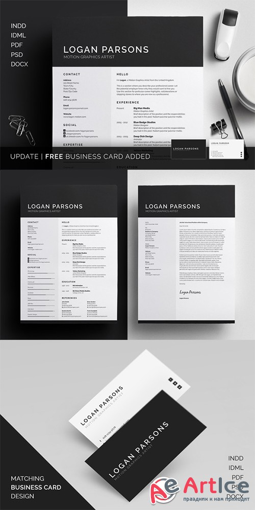 Resume/CV - Logan - Creativemarket 243032