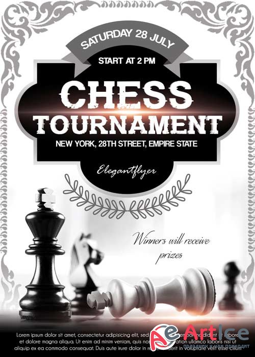 Chess Tournament V2 Flyer PSD Template + Facebook Cover