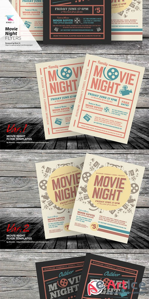 Movie Night Flyer Templates - Creativemarket 703184