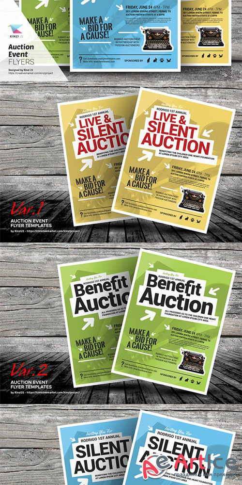 Auction Event Flyer Templates - Creativemarket 692236