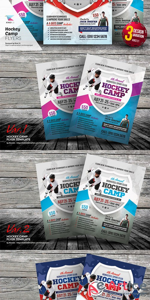 Hockey Camp Flyer Templates - Creativemarket 676642