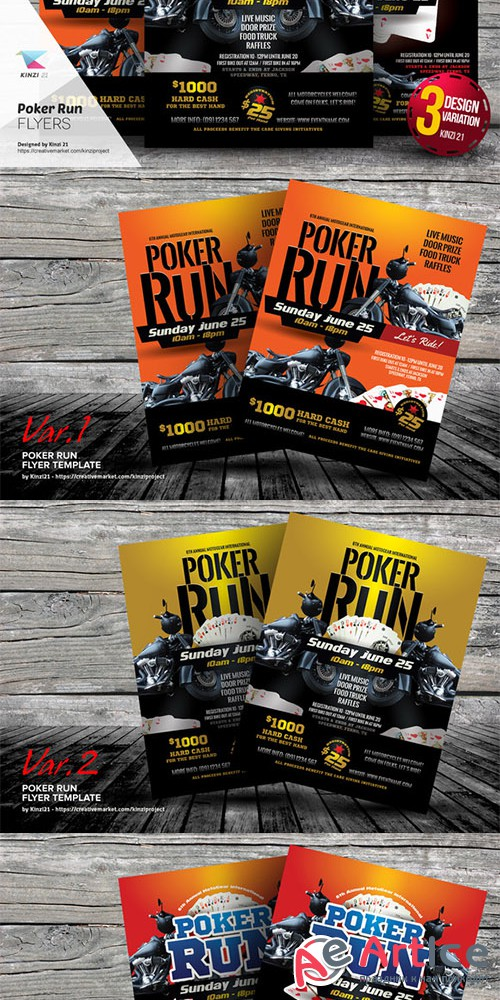 Poker Run Flyer Templates - Creativemarket 659244