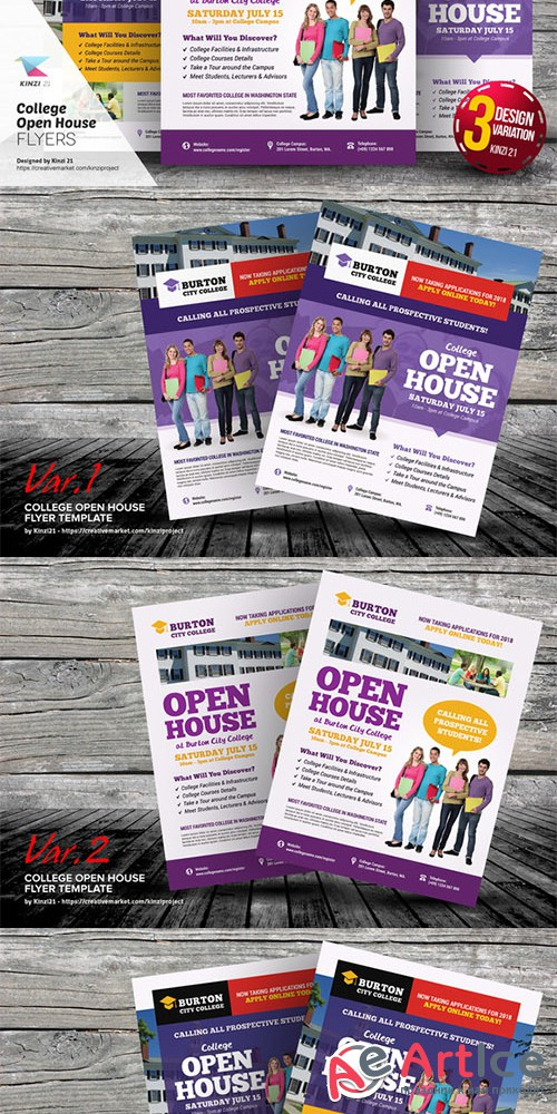College Open House Flyer Templates - Creativemarket 639554