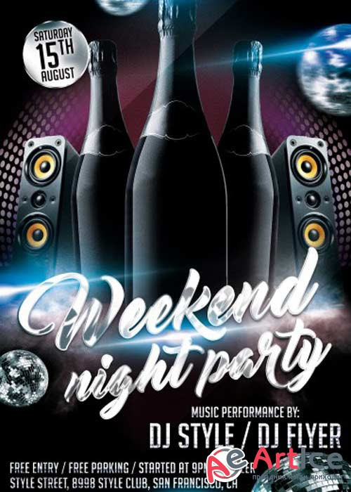 Weekend Night Party V4 PSD Flyer Template
