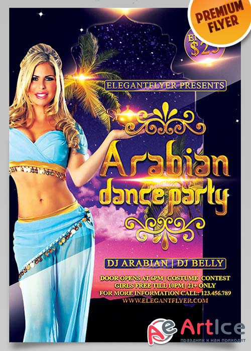 Arabian Dance Party Flyer V3 PSD Template + Facebook Cover