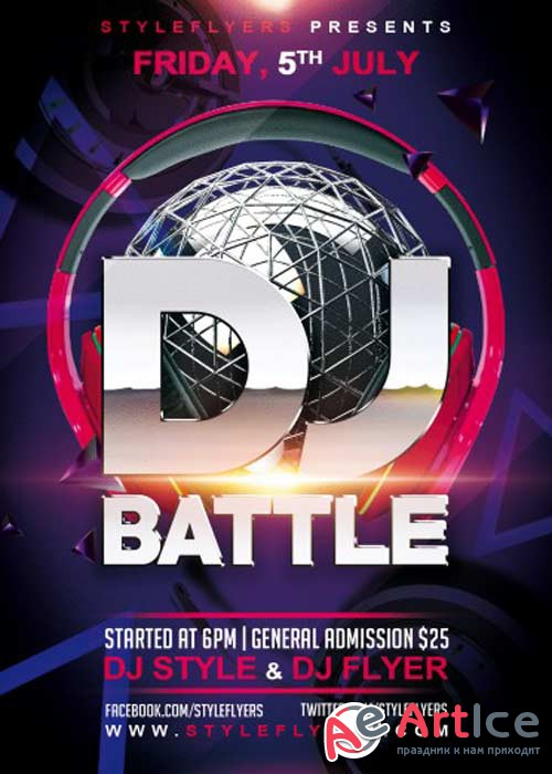 DJ Battle V3 PSD Flyer Template