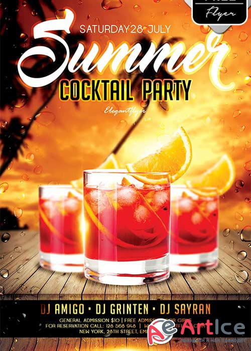 Summer Cocktail Party V9 Flyer PSD Template + Facebook Cover