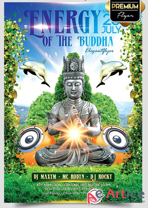 Energy Of The Buddha Flyer PSD Template + Facebook Cover