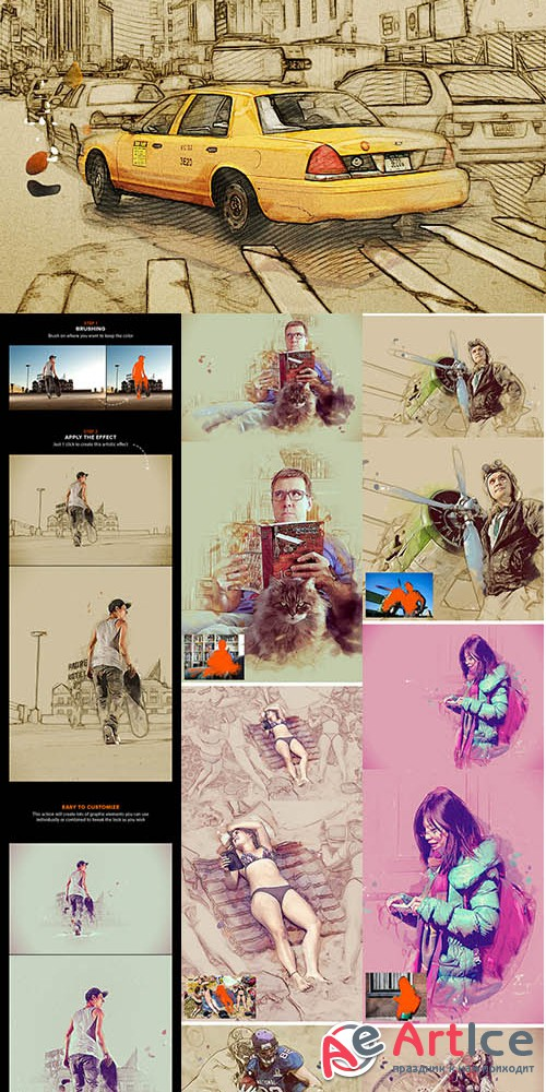 MixArt - Sketch Painting Photoshop Action - GraphicRiver 10854667