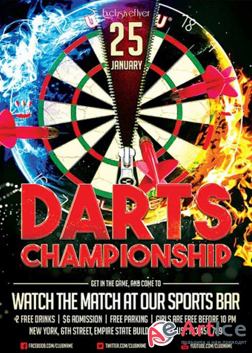 Darts Championship V1 Premium Flyer Template + Facebook Cover