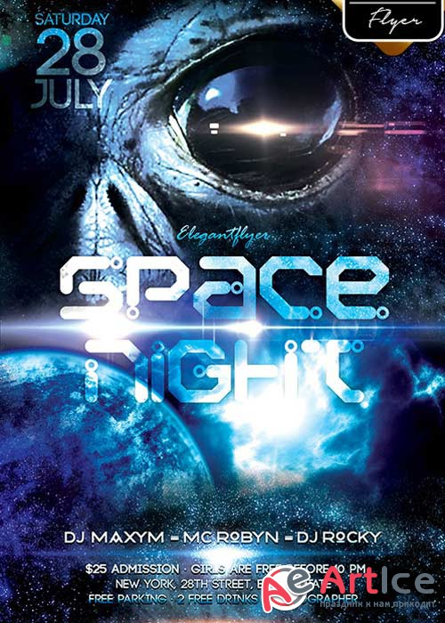 Space Night V1 Flyer PSD Template + Facebook Cover