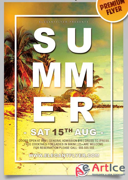 Summer V10 Flyer PSD Template + Facebook Cover