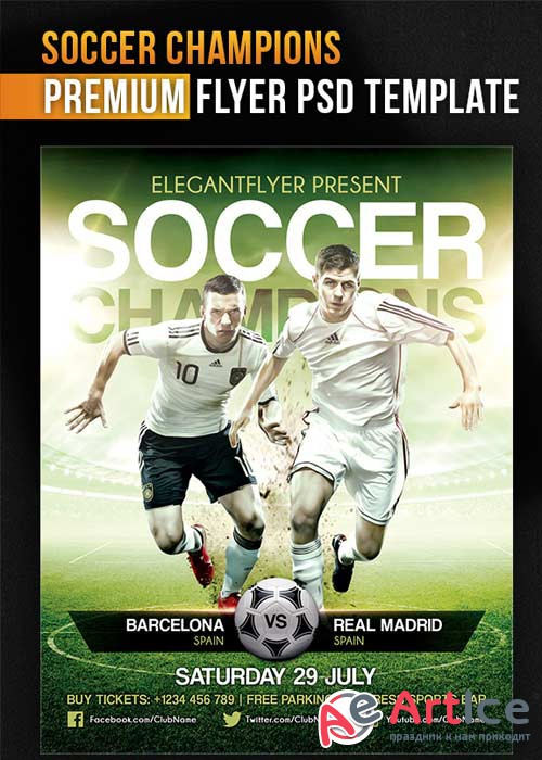 Soccer Champions V5 Flyer PSD Template + Facebook Cover