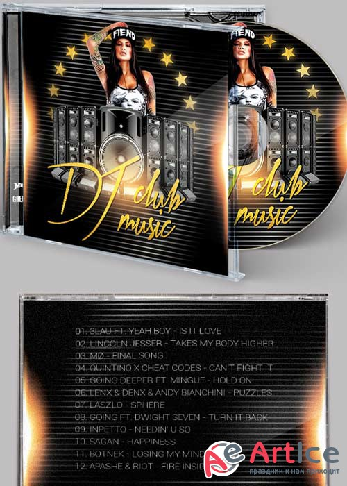 DJ Sound CD Cover PSD Template