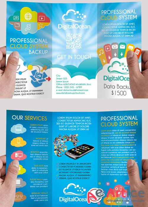 Cloud Systems Premium Tri-Fold PSD Brochure Template