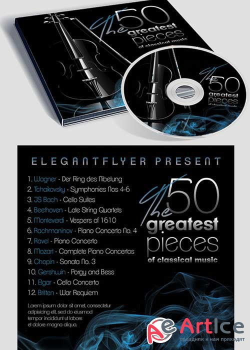Classical music CD Cover PSD Template