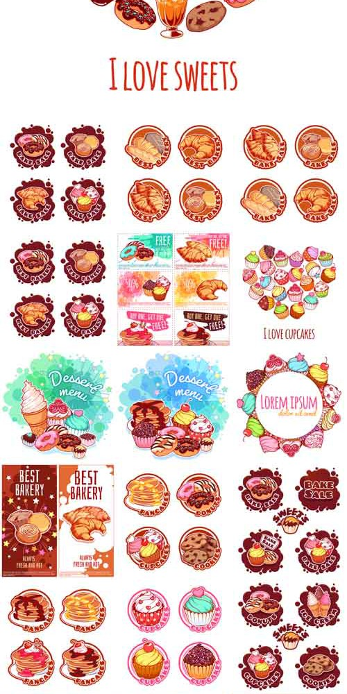 Vector Banners Cards Stickers with Different Bakery Products