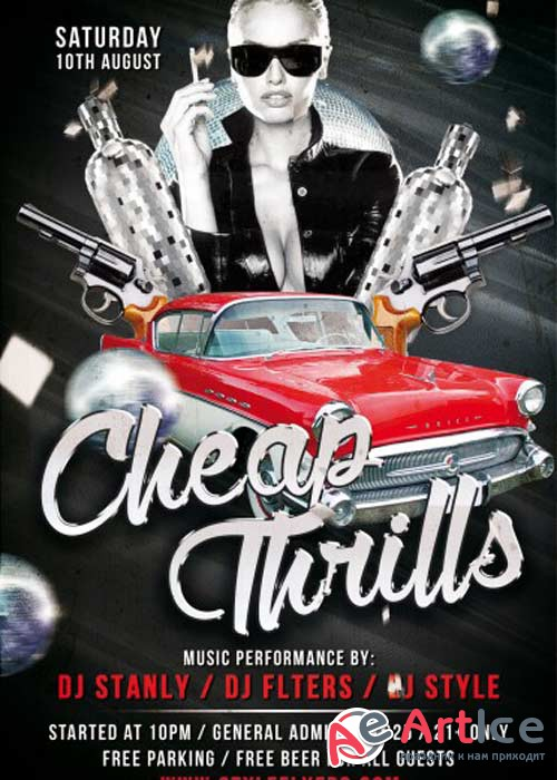 Cheap Thrills Party PSD Flyer Template