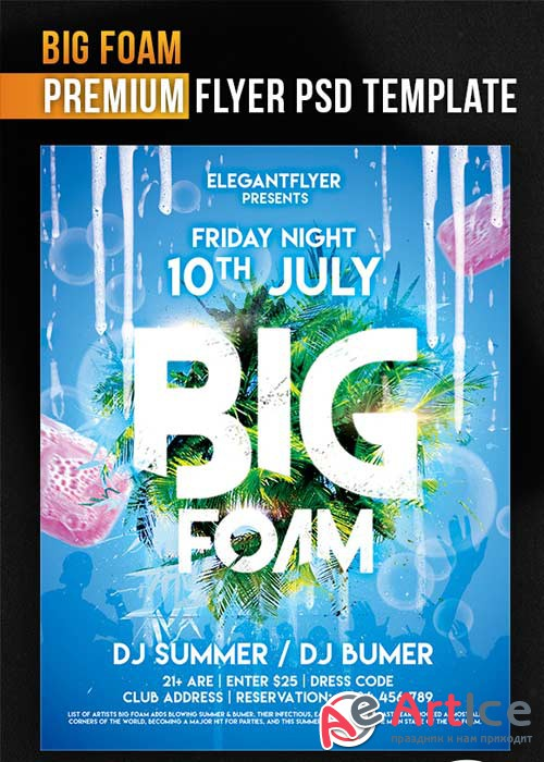 Big Foam Flyer PSD Template + Facebook Cover