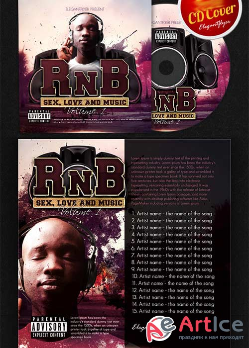 RnB Music CD Cover PSD Template