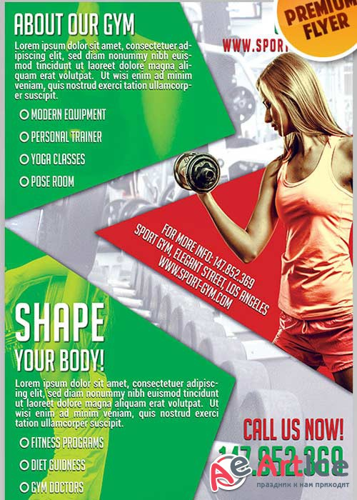 Shape Your Body V1 Flyer PSD Template + Facebook Cover