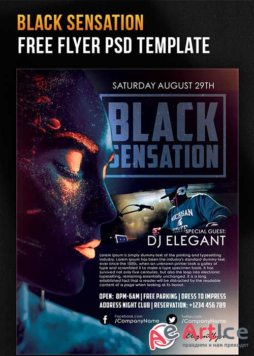 Black Sensation Flyer PSD Template + Facebook Cover