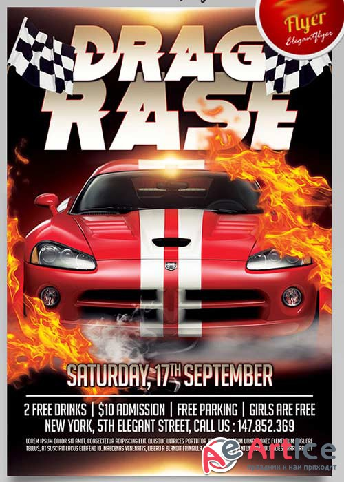Drag Race Flyer PSD Template + Facebook Cover