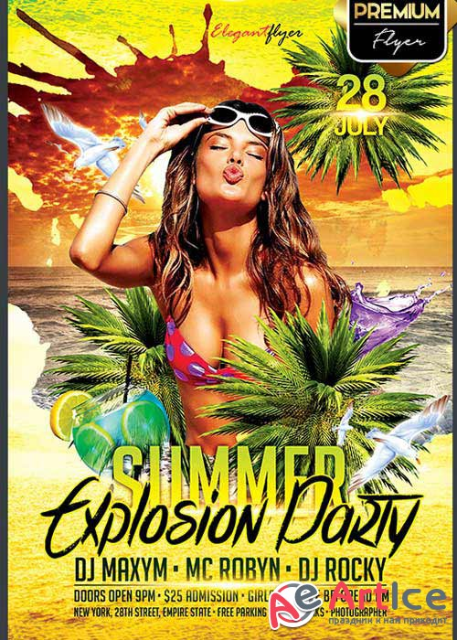 Summer Explosion Party V1 Flyer PSD Template + Facebook Cover