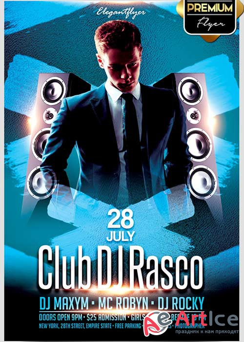 Club DJ Rasco V1 Flyer PSD Template + Facebook Cover