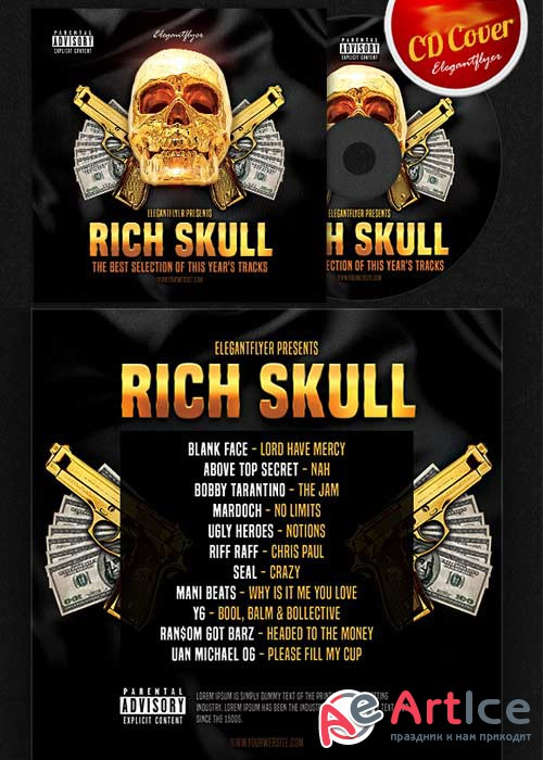 Rich Skull CD Cover PSD Template
