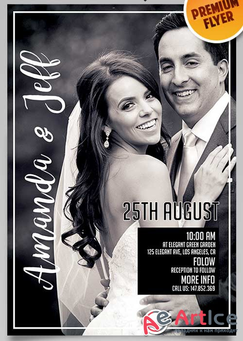 Wedding Invitation Flyer V3 PSD Template + Facebook Cover