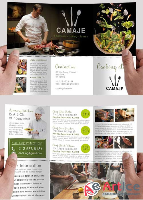 The cooking school Premium Tri-Fold PSD Brochure Template