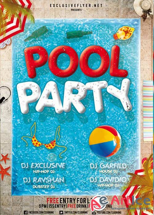 Pool Party V12 Premium Flyer Template + Facebook Cover