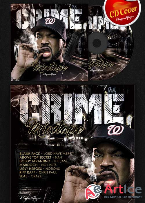 Rap Crime Mixtape CD Cover PSD Template