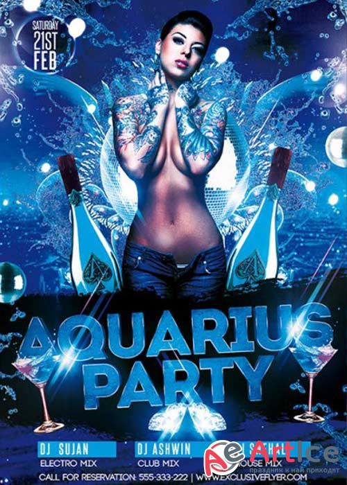 Aquarius Party V3 Premium Flyer Template