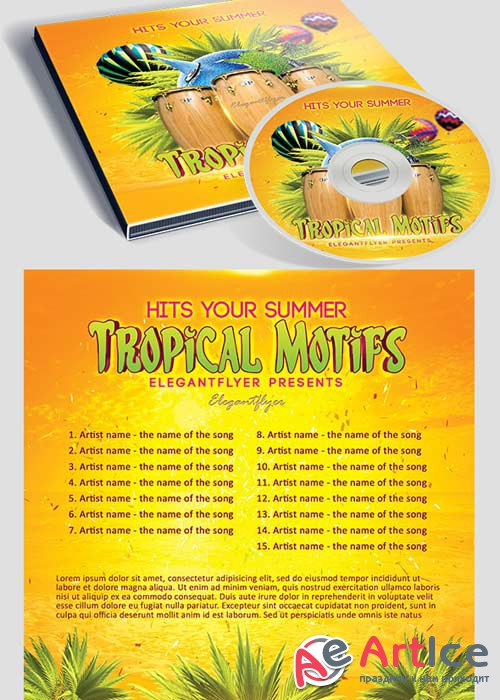 Tropical Motifs CD Cover PSD Template